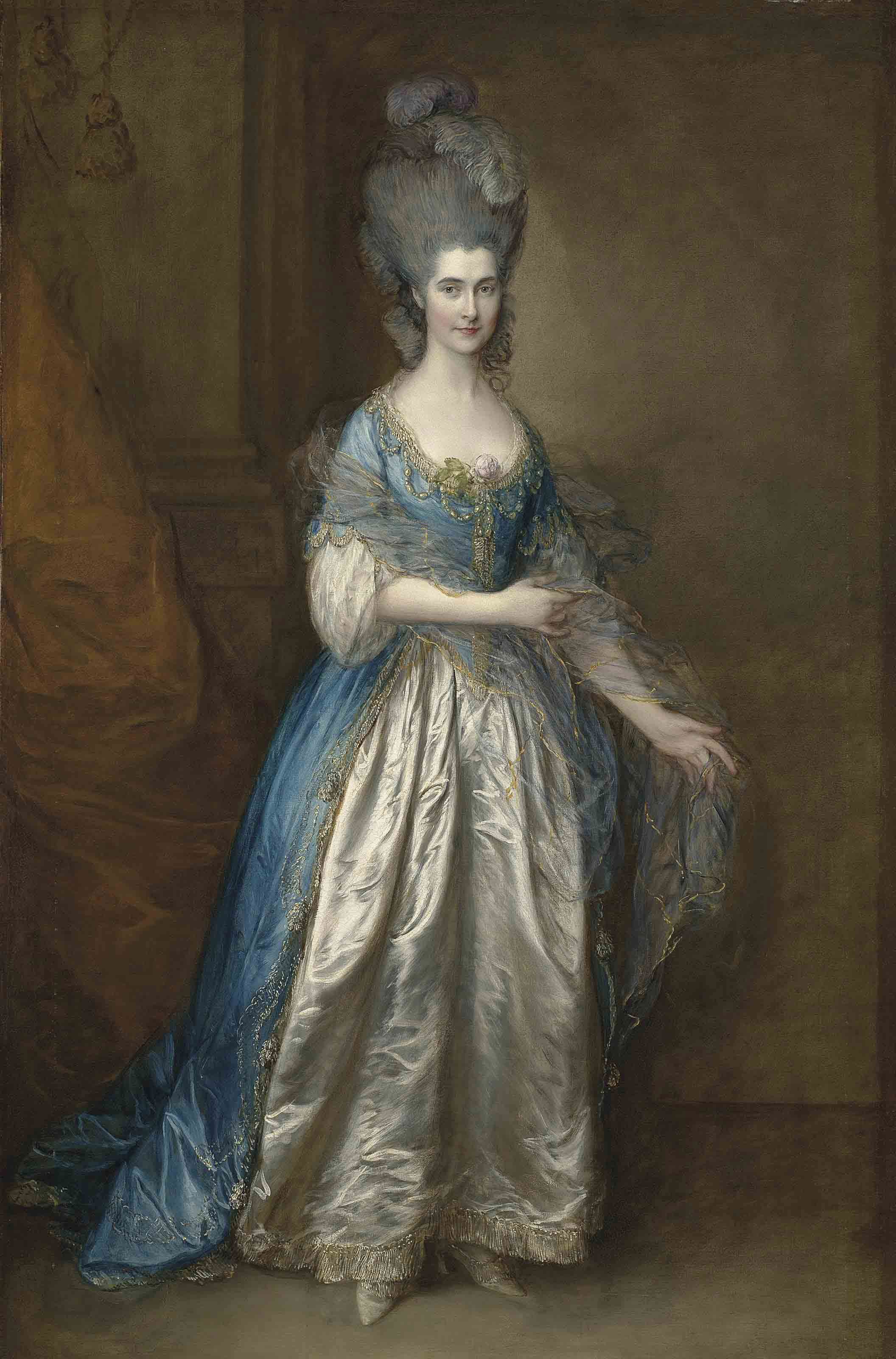 Portrait of Mrs. William Villebois, full-length, in masquerade dress, with a blue gown and a lace-edged satin skirt, holding a diaphanous wrap, beside a pilaster