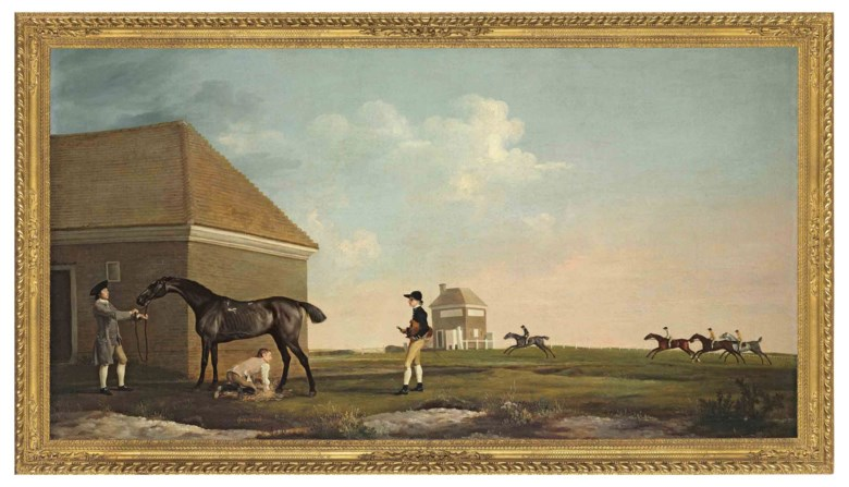 George Stubbs, A.R.A. (1724-1806), Gimcrack on Newmarket Heath, with a Trainer, a Jockey and a Stable Lad, c. 1765. Oil on canvas. 40 316 x 76¼  in (102 x 193.6  cm). Sold for£22,441,250 on 5 July 2011 at Christie's in London