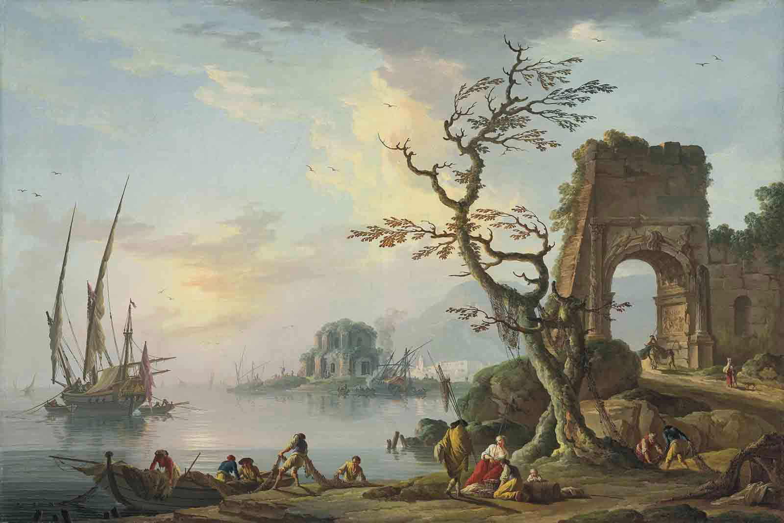 A coastal landscape with fishermen unloading boats, a capriccio of the Arch of Titus