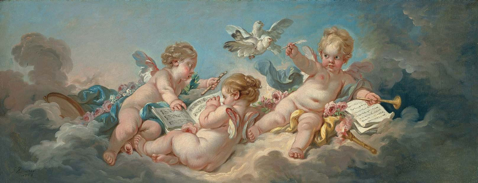 Putti making music