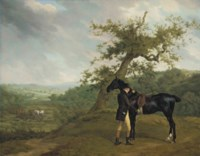 George Irving with his black hunter beneath a blasted oak, hounds being put into a covert beyond