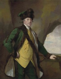 Portrait of John Whetham (1731-1781), of Kirklington, three-quarter-length, in a bottle-green fur-lined jacket, yellow waistcoat and fur hat, a spear in his left hand, in a rocky landscape