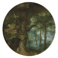 A wooded landscape with a hermit monk