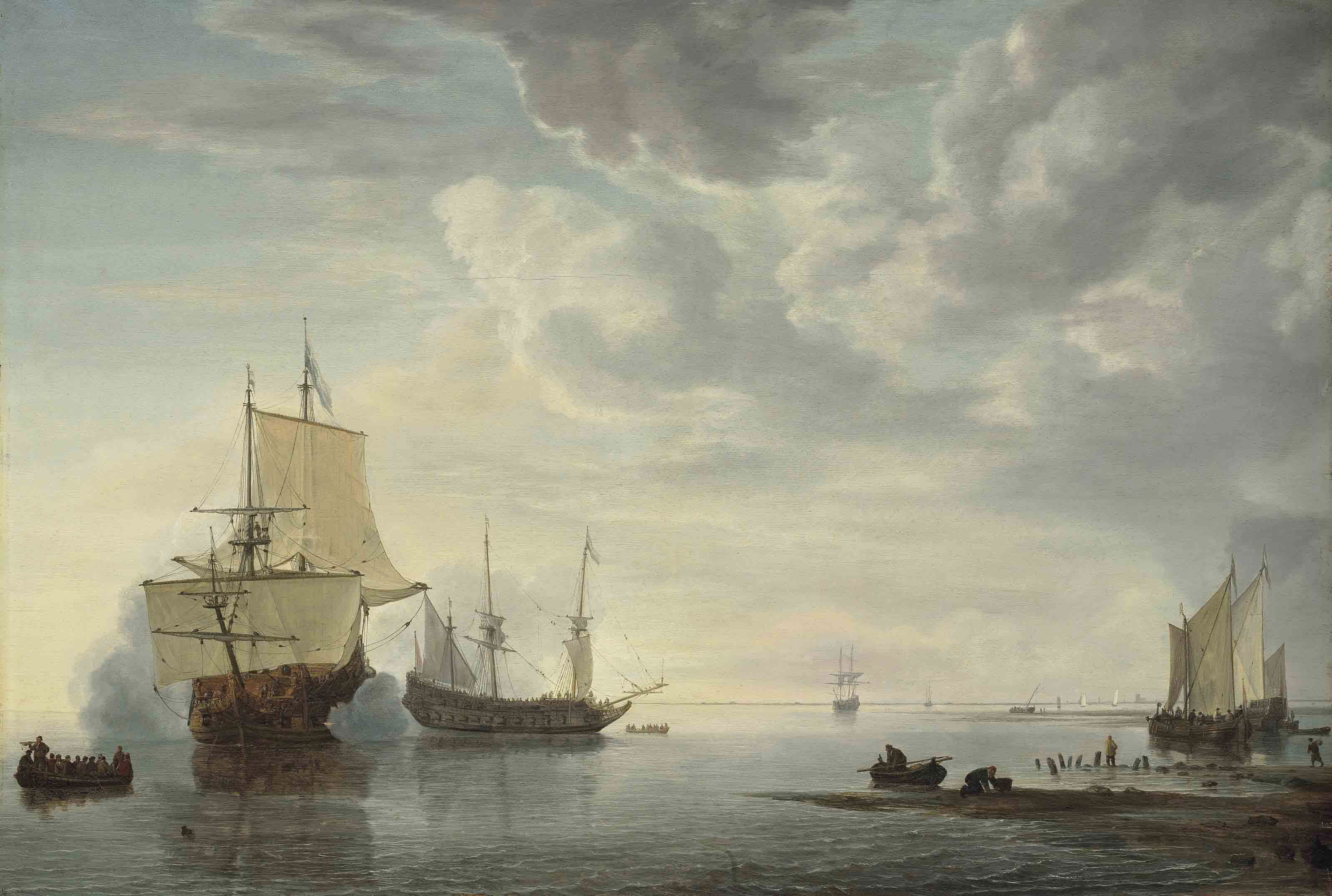 Dutch frigates exchanging salutes in a calm, with yachts, a rowing boat, a sloop carrying personnel, and fishermen on the shore