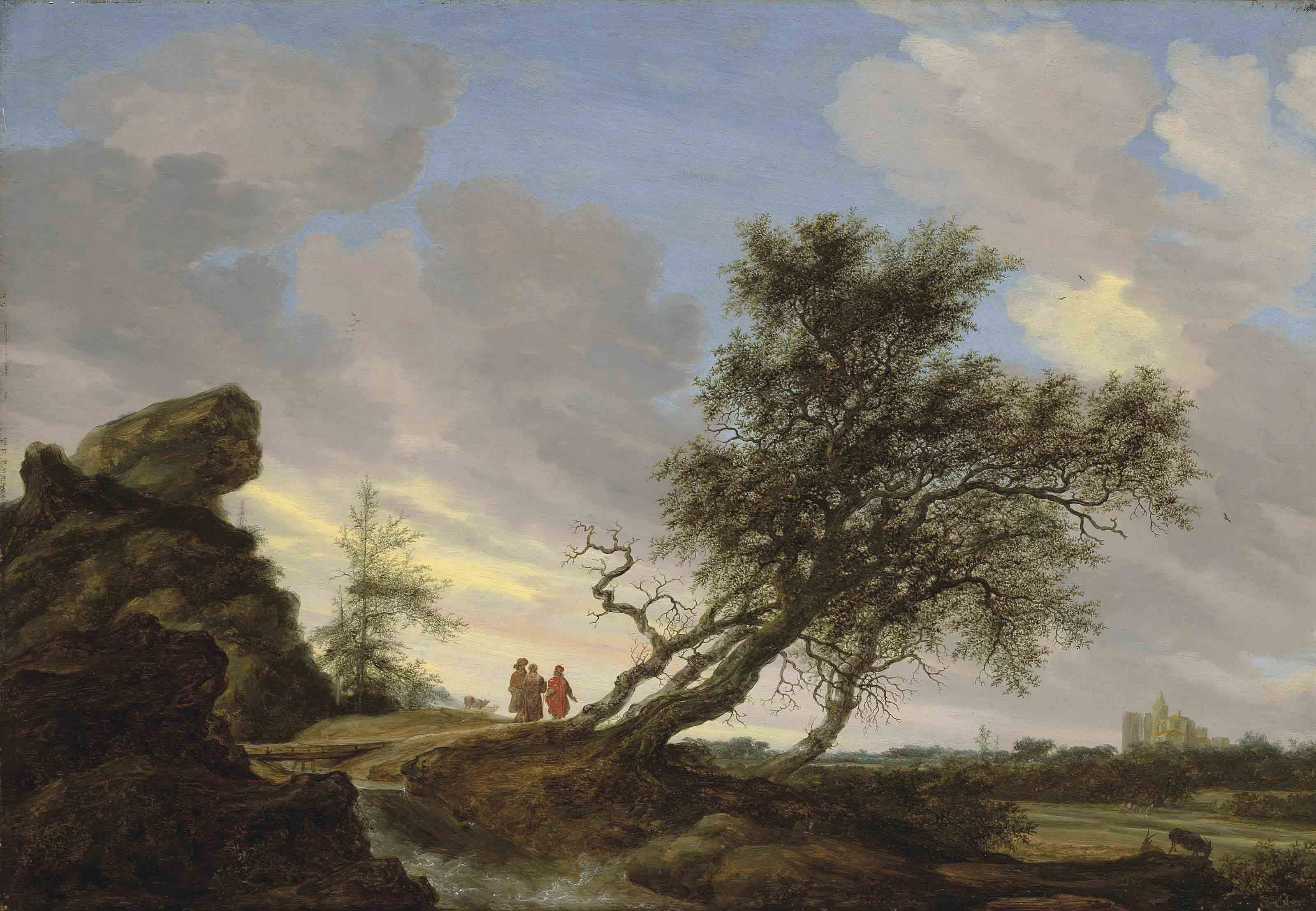 An extensive landscape with the Road to Emmaus