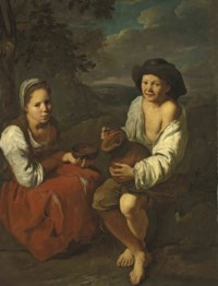 Two young peasants in a landscape