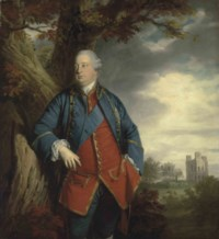 Portrait of Prince William Augustus, Duke of Cumberland (1721-1765), three-quarter-length, as a Ranger of Windsor Great Park, with the star and sash of the Order of the Garter, the tower of Fort Belvedere, Windsor Great Park, beyond