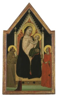 The Madonna and Child enthroned with Saints Francis and Mary Magdalen and a female donor