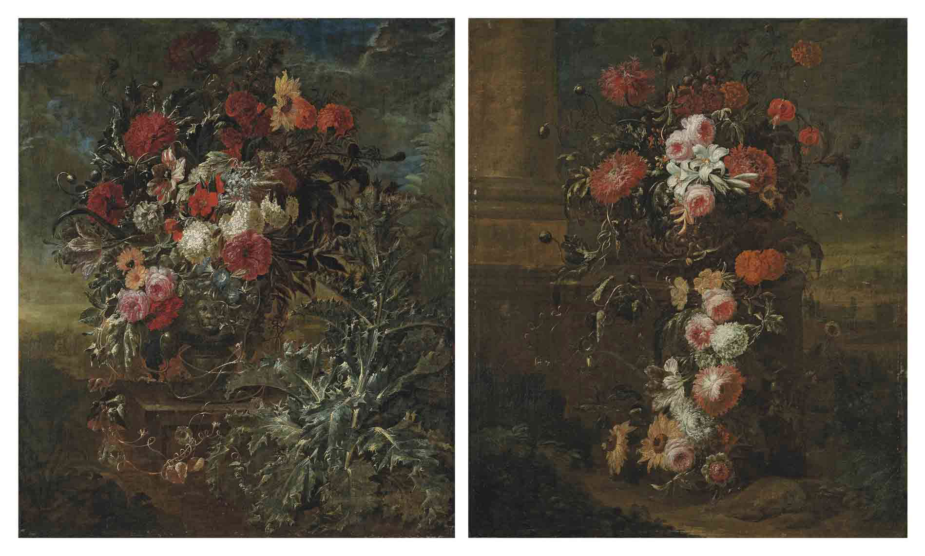 Roses, a sunflower, carnations, chrysanthemums, a tulip and other flowers in a sculpted stone urn, on a ledge, with a thistle, in a landscape; and Roses, lilies, carnations, sunflowers, a tulip and other flowers in a sculpted stone urn, on a ledge by a column, in a landscape