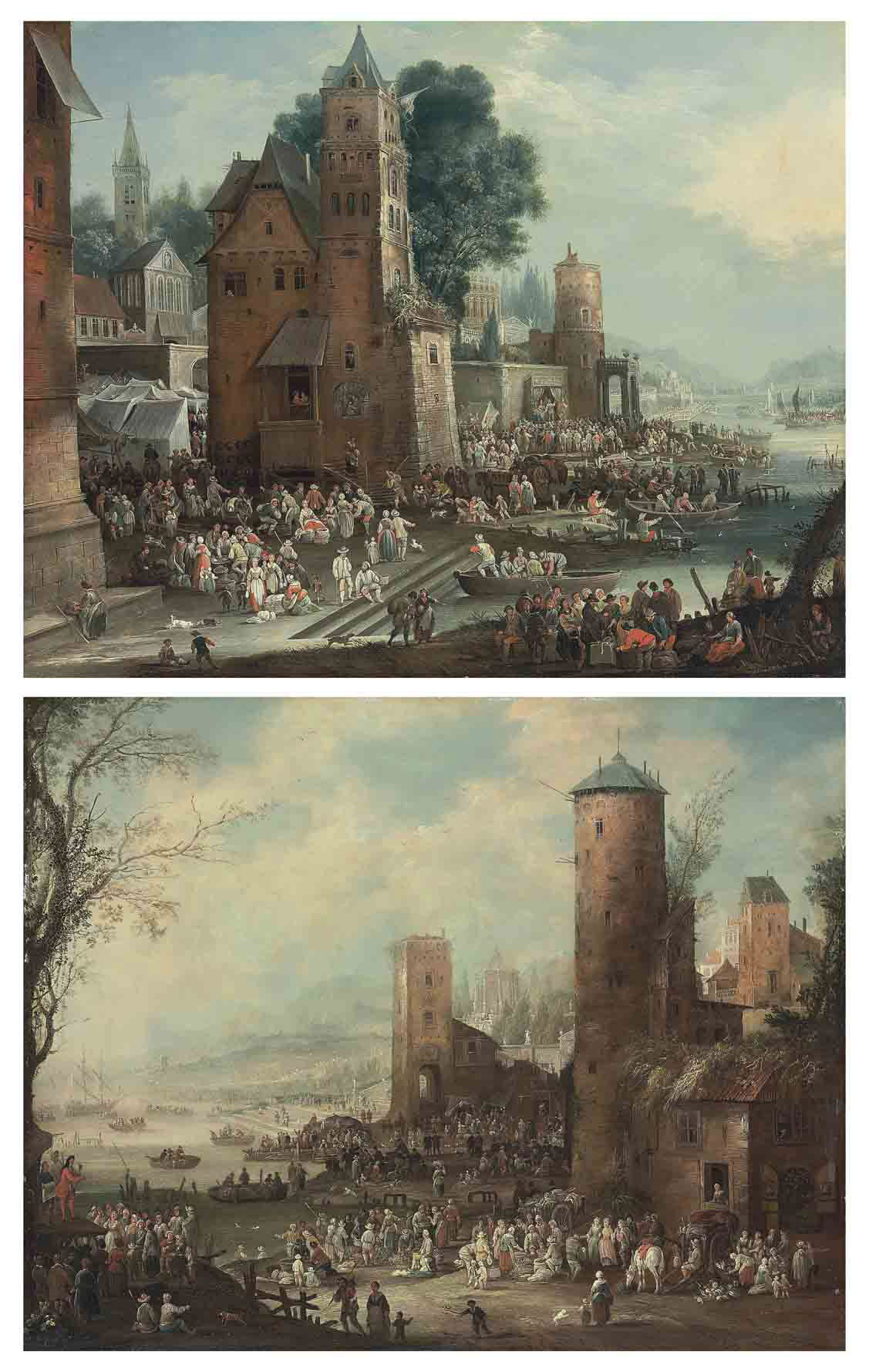A capriccio harbour scene with market tents and a street theatre, boats docking in the foreground; and A capriccio harbour scene with a marketplace