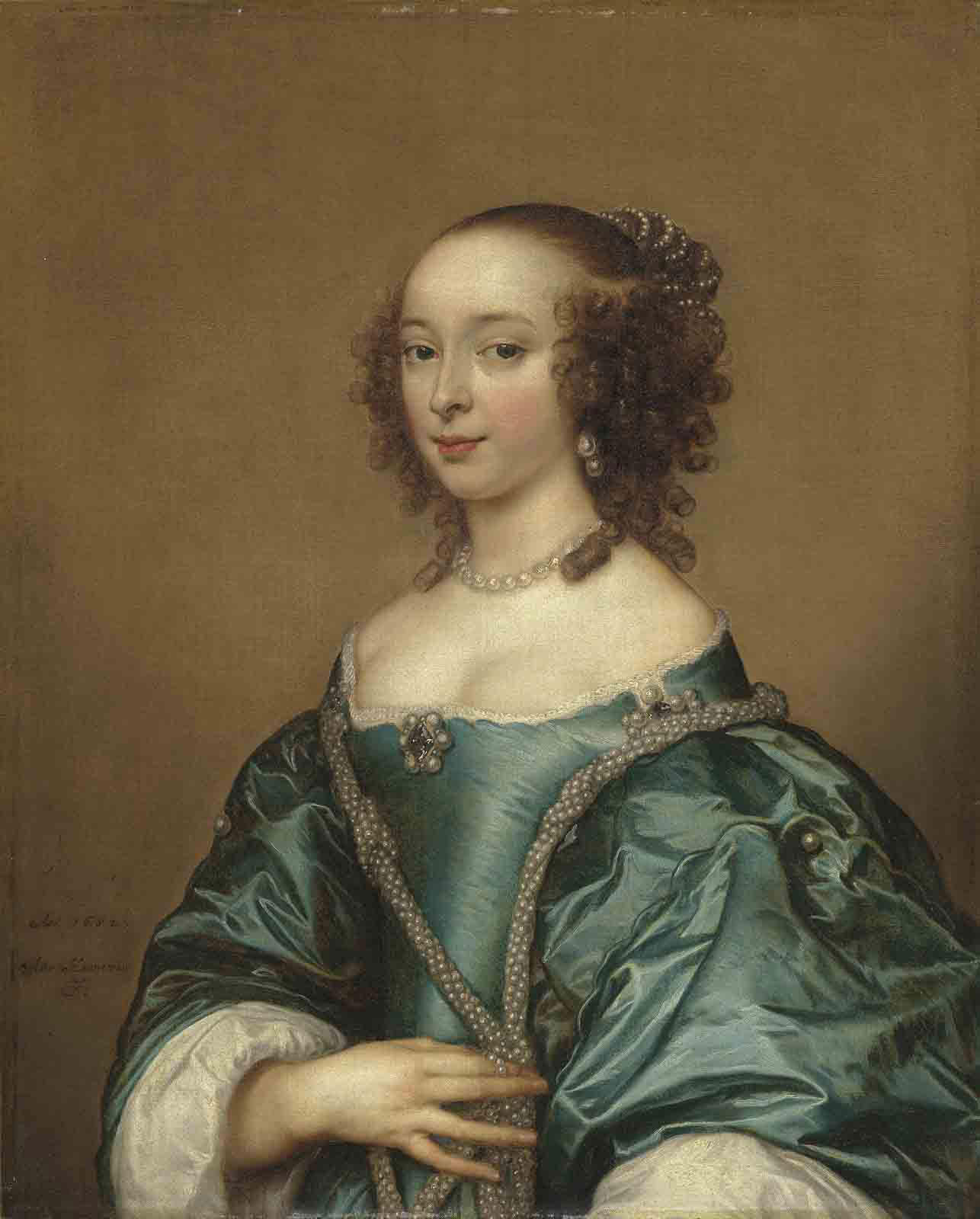 Portrait of a lady, half-length, in a blue dress with pearls