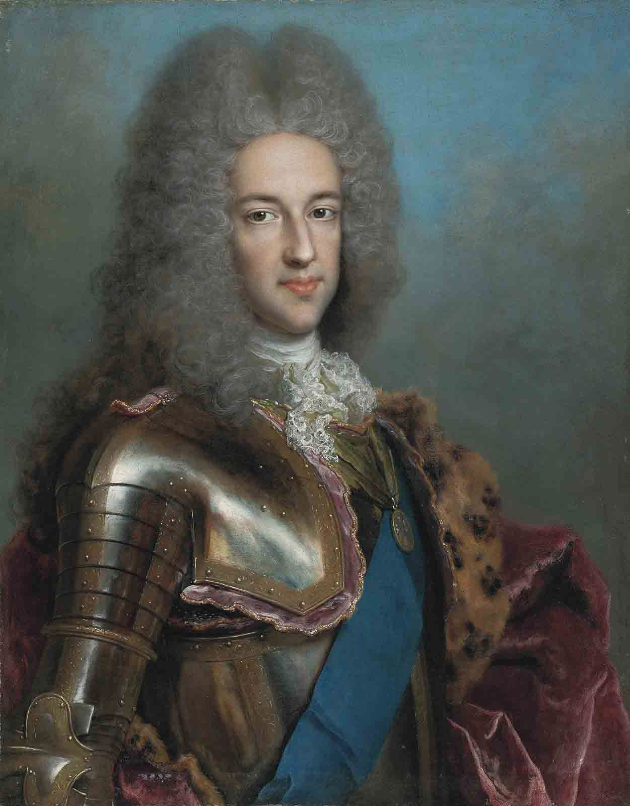 Portrait of James Francis Edward Stuart, the Old Pretender (1688-1766), half-length, in armour, with the sash of the Order of the Garter and the medal of the Order of the Thistle