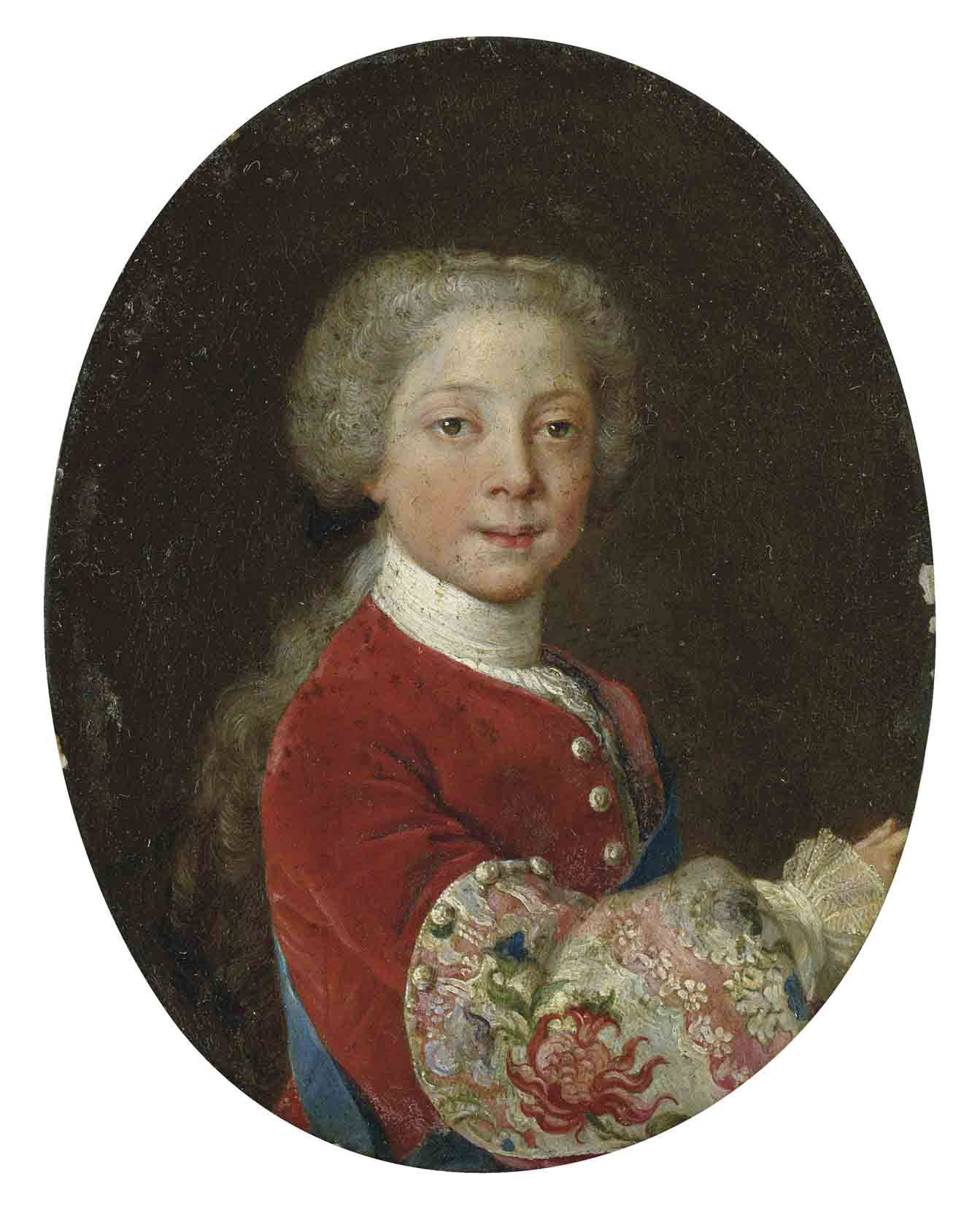 Portrait of Prince Henry Benedict Stuart (1725-1807) as a boy, half-length, in a red velvet coat with elaborately embroidered sleeve with thistle motif, with the sash of the Order of the Garter