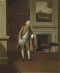 Portrait of William Trollop, small full-length, in a brown suit and a blue waistcoat, in an interior