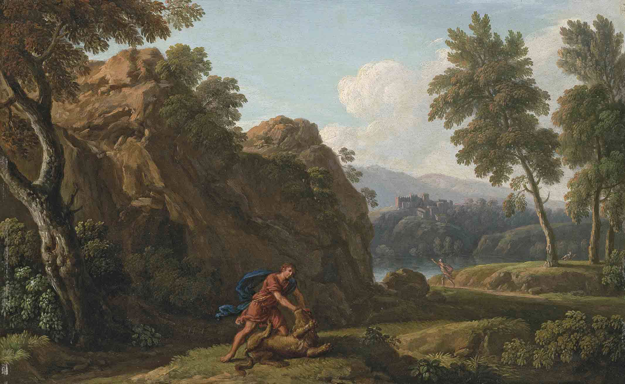 A rocky, river landscape, with Hercules and the Nemean Lion