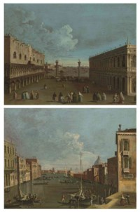 A view of the Piazzetta, Venice, with the Ducal Palace and the Library; and A view of the Canal Grande, Venice, looking east, with Ca' Corner cella Ca' Grande, the Punta della Dogana and the dome of Santa Maria della Salute beyond
