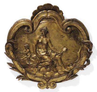 A CARVED GILTWOOD RELIEF OF VE