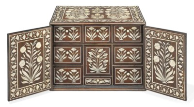 AN ANGLO-INDIAN IVORY-INLAID H