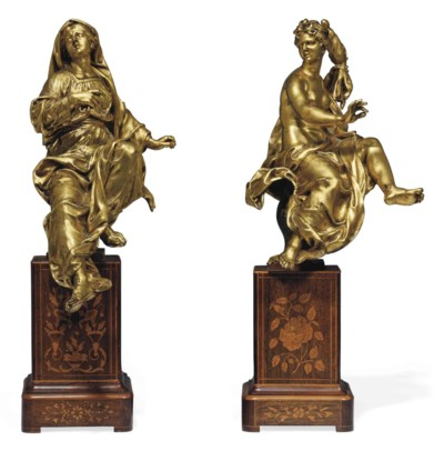 A PAIR OF GILT-BRONZE FIGURES