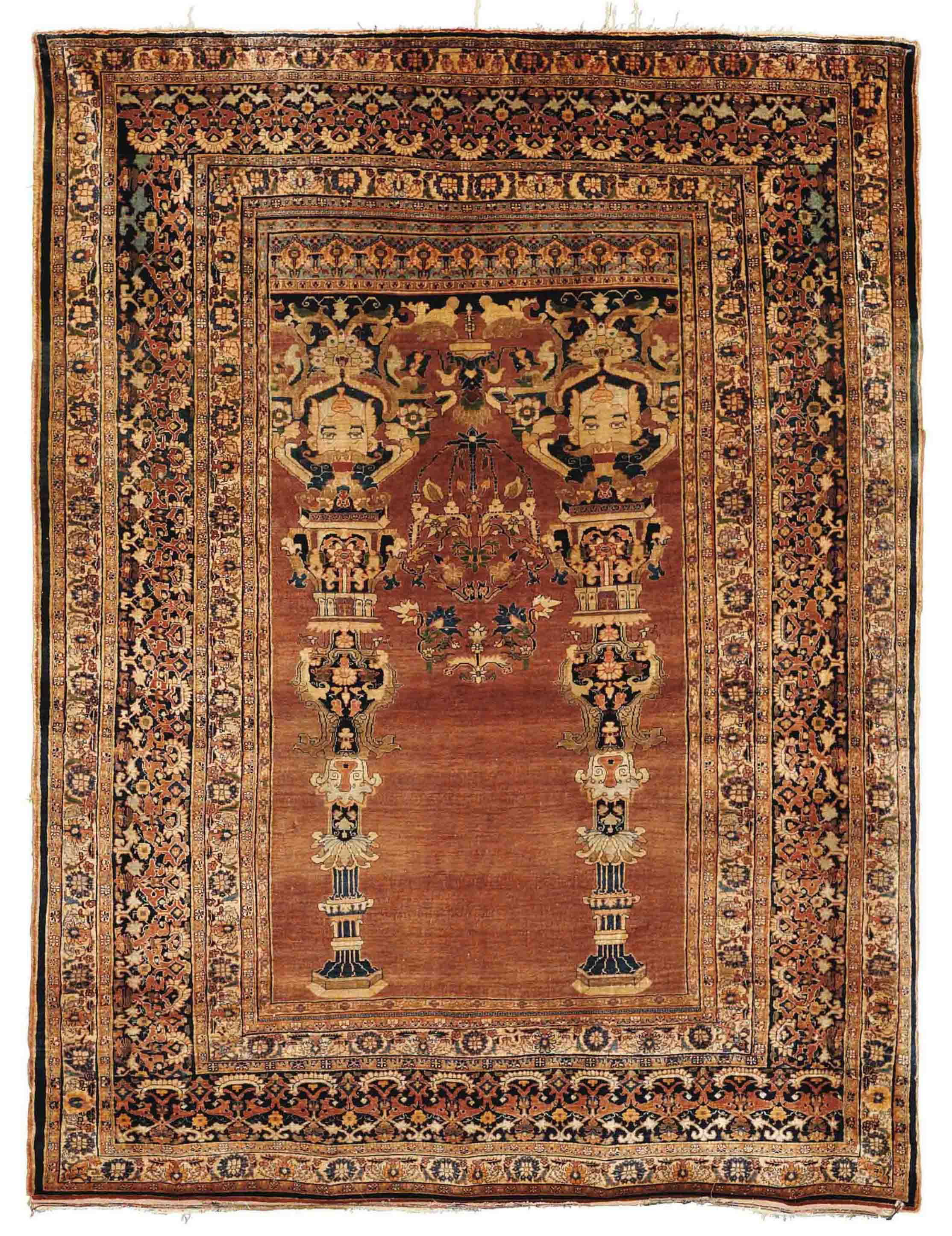 A Silk Heriz Prayer Rug North West Persia Circa 1880