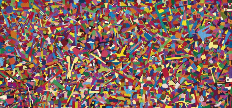 Alighiero Boetti (1940-1994), Tutto, executed in 1988 . 48⅞ x 104⅞ in (124.3 x 266.3 cm). Sold for £1,329,250 on 14 October 2011 at Christie's in London © DACS 2018