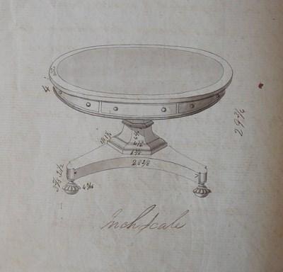 A GEORGE IV MAHOGANY DRUM TABL