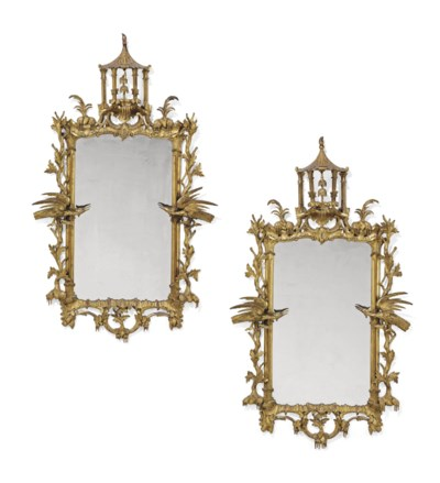 A PAIR OF CARVED GILTWOOD MIRR