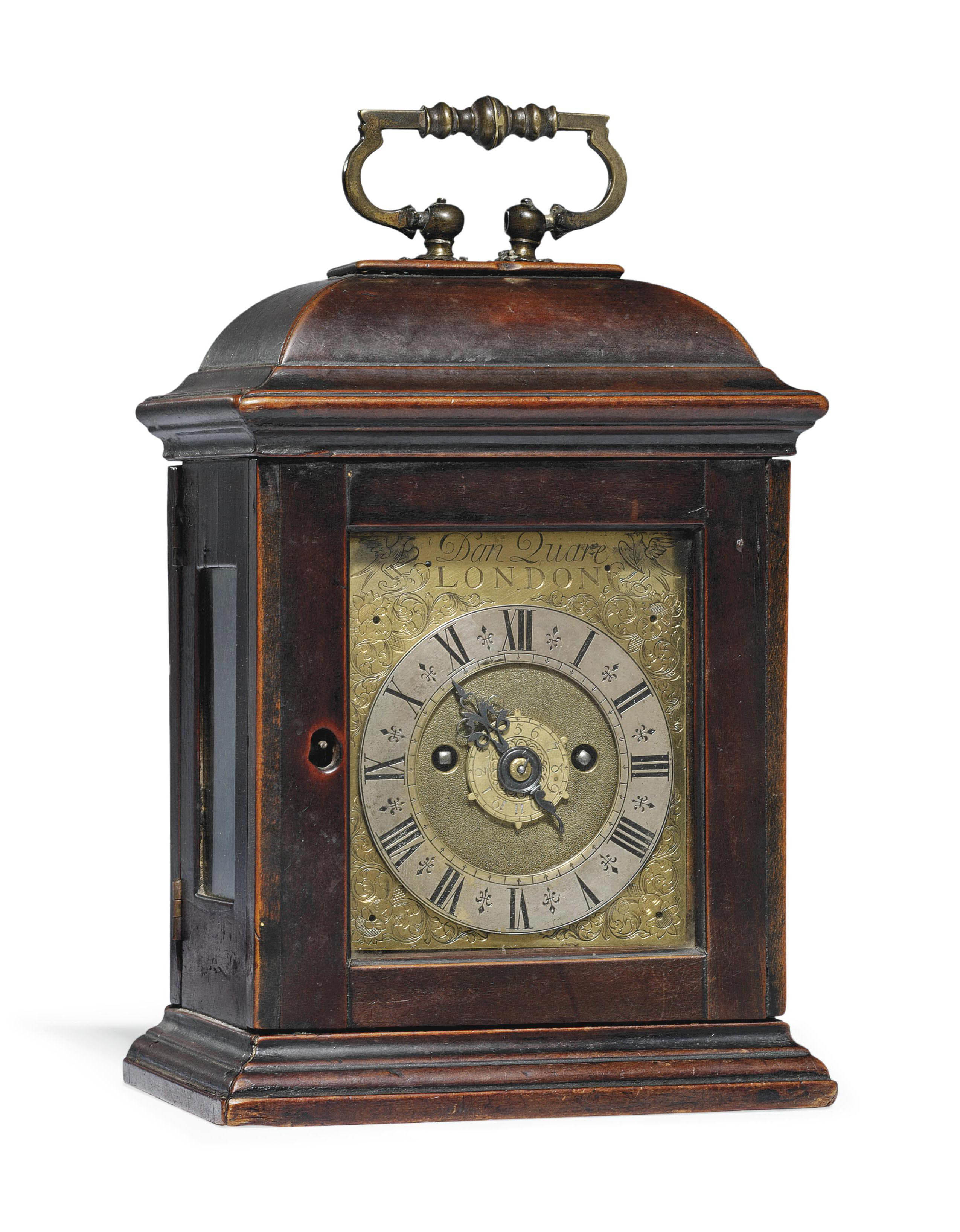 AN UNUSUAL GEORGE I MINIATURE EBONISED TIMEPIECE TABLE CLOCK WITH ALARM