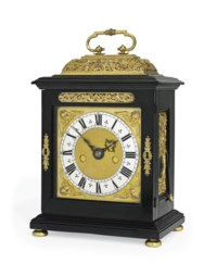 A CHARLES II SMALL GILT-METAL MOUNTED EBONY STRIKING EIGHT DAY TABLE CLOCK WITH PULL QUARTER REPEAT