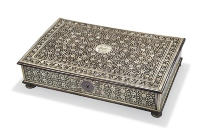 AN ANGLO-INDIAN IVORY-INLAID E