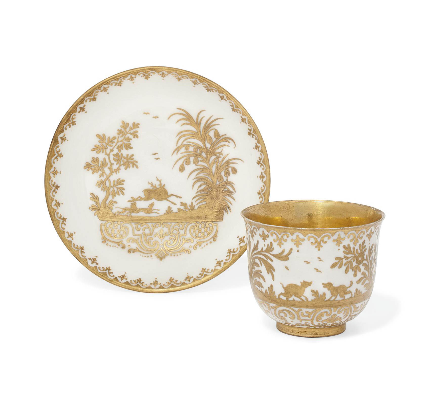 A CAPODIMONTE CUP AND SAUCER