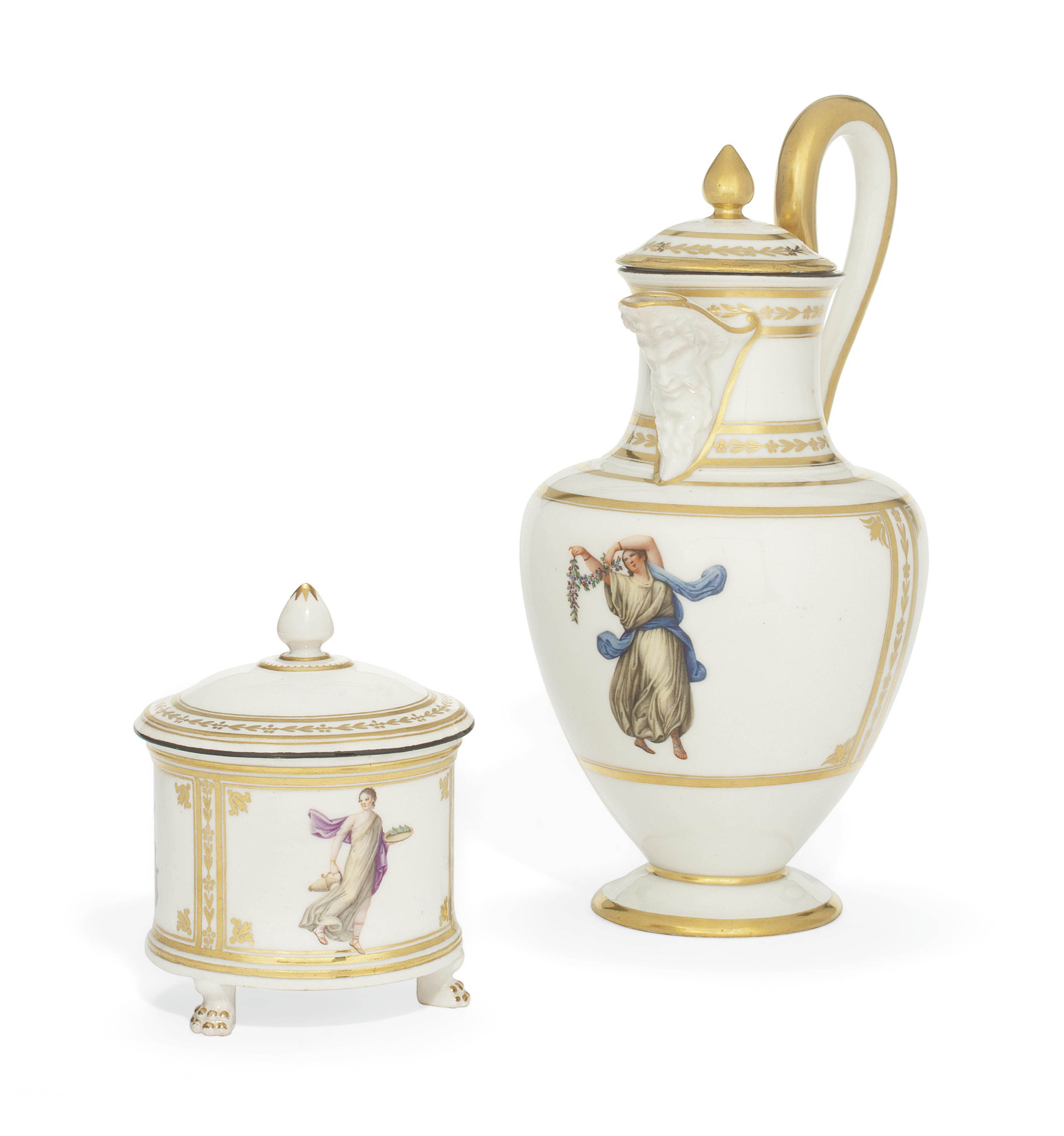 A NAPLES (REAL FABBRICA FERDINANDEA) COFFEE-POT AND A COVER AND SUGAR-BOWL AND COVER