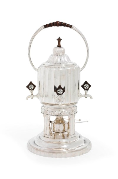 A GERMAN SILVER KETTLE, STAND