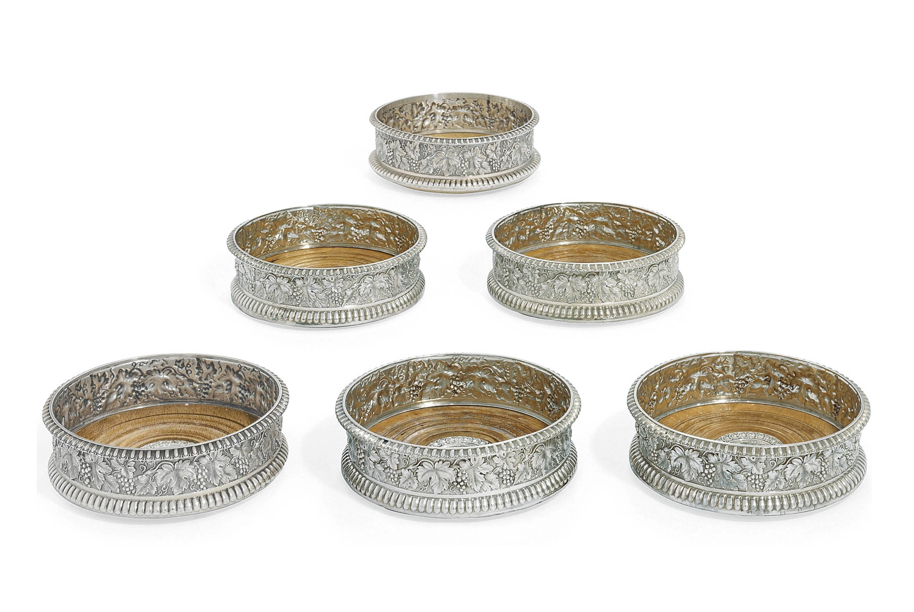 A SET OF SIX GEORGE IV SCOTTISH SILVER WINE-COASTERS