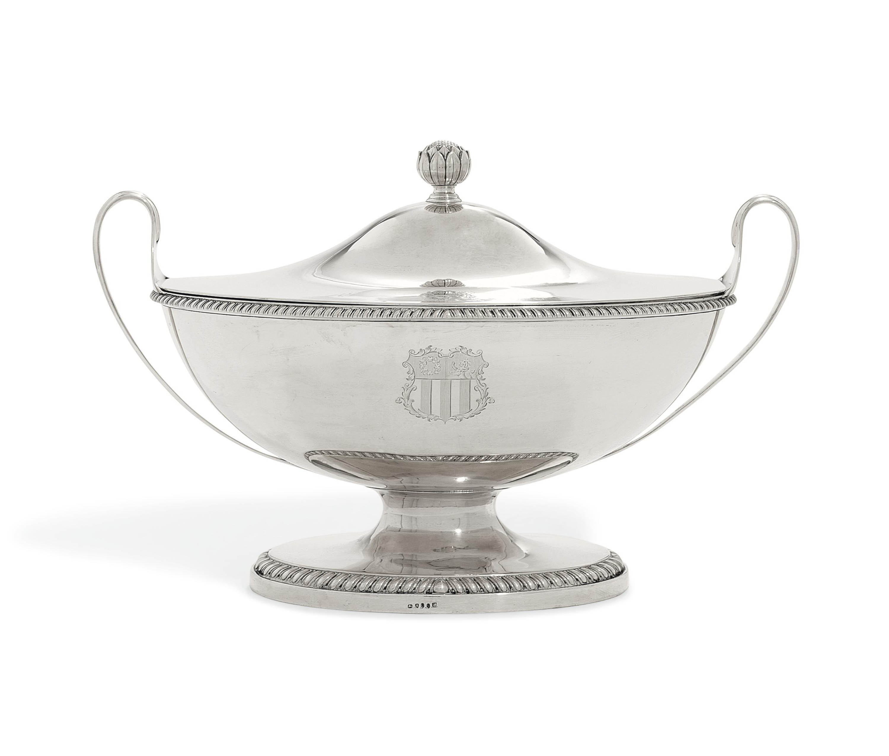 A GEORGE III SILVER SOUP-TUREEN AND COVER