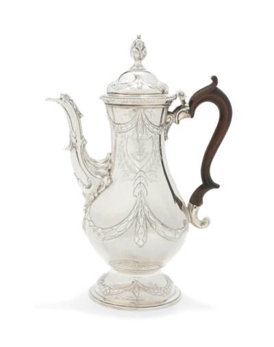 A GEORGE III SILVER COFFEE-POT