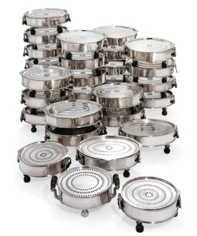 THIRTY-THREE SILVER-PLATED HOT