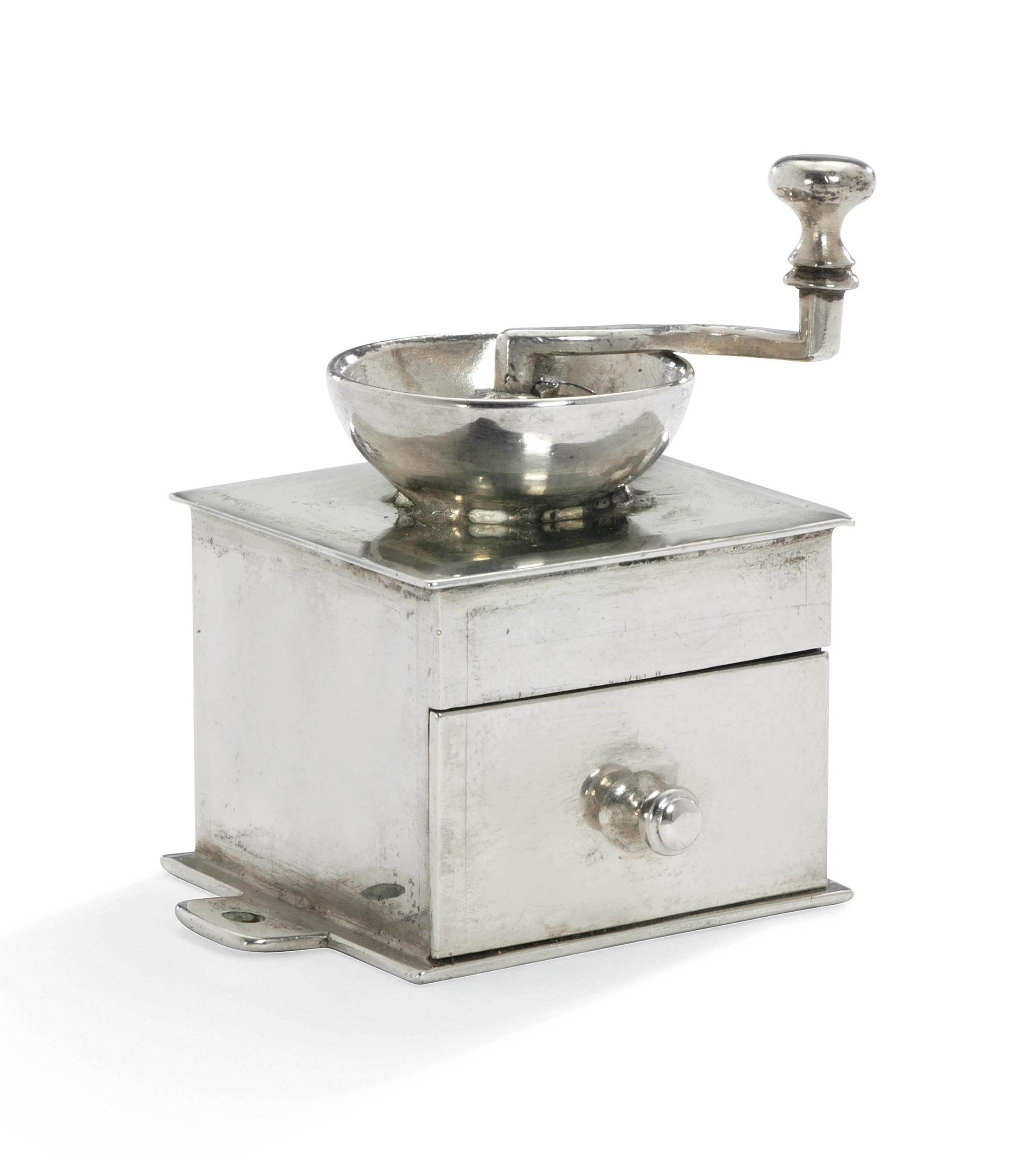 A DUTCH SILVER TOY MINIATURE COFFEE-GRINDER