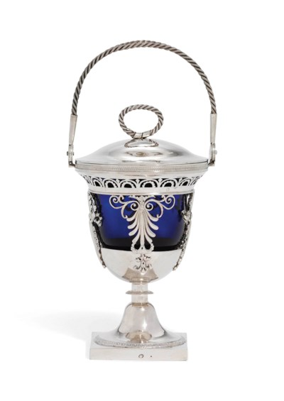 A FRENCH SILVER SUGAR-VASE AND