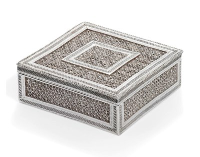 AN INDIAN SILVER-FILIGREE BOX