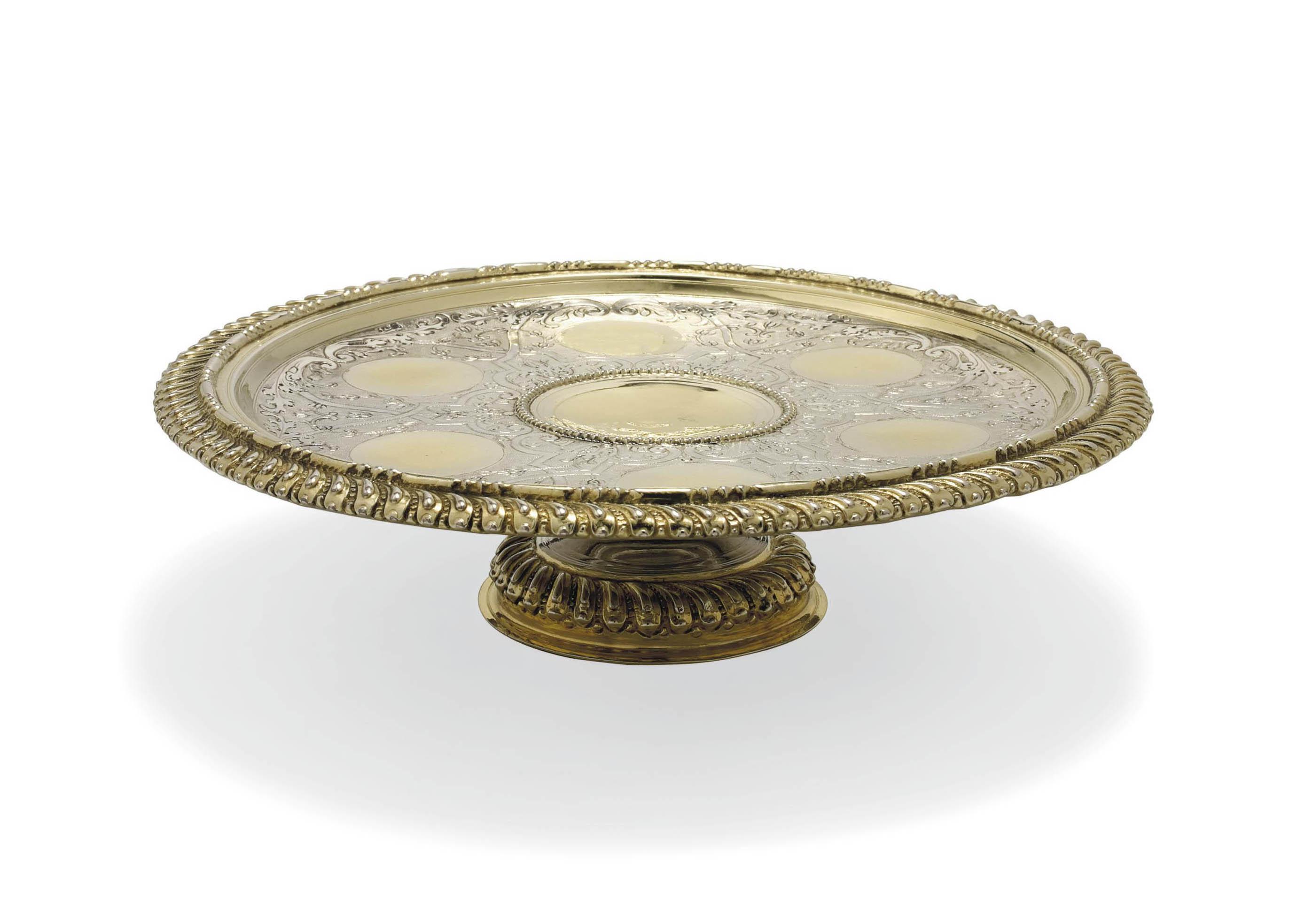 A GERMAN PARCEL-GILT SILVER TAZZA OR LIQUEUR GLASS STAND
