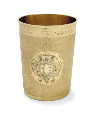 A FRENCH SILVER-GILT BEAKER