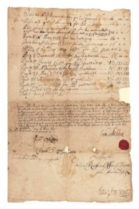 MILTON, John (1608-1674). Document with secretarial signature ('John Milton'), n.p., 5 May 1660, a deed of conveyance transferring to his friend Cyriack Skinner a treasury bond for £400, half page, folio, Milton's spreadeagle signet seal in red wax, at the foot of a document bearing two previous assignments of the same bond, the first by Alexander Scott to George Foxcroft, 29 June 1649, the second by Foxcroft to Milton himself, 13 May 1651, also bearing records of the twice-yearly interest payments of £16 due on the bond, and endorsements by the Excise Office on whom the bond was due, 3 pages, folio, bifolium, remnants of guards (losses at centre of outer margins on both leaves archivally repaired, some staining and spotting). Provenance: Samuel Weller Singer -- his sale at Sotheby's, 3 August 1858 (lot 75) -- Richard Monckton Milnes, 1st Baron Houghton (1809-1885); and by descent.