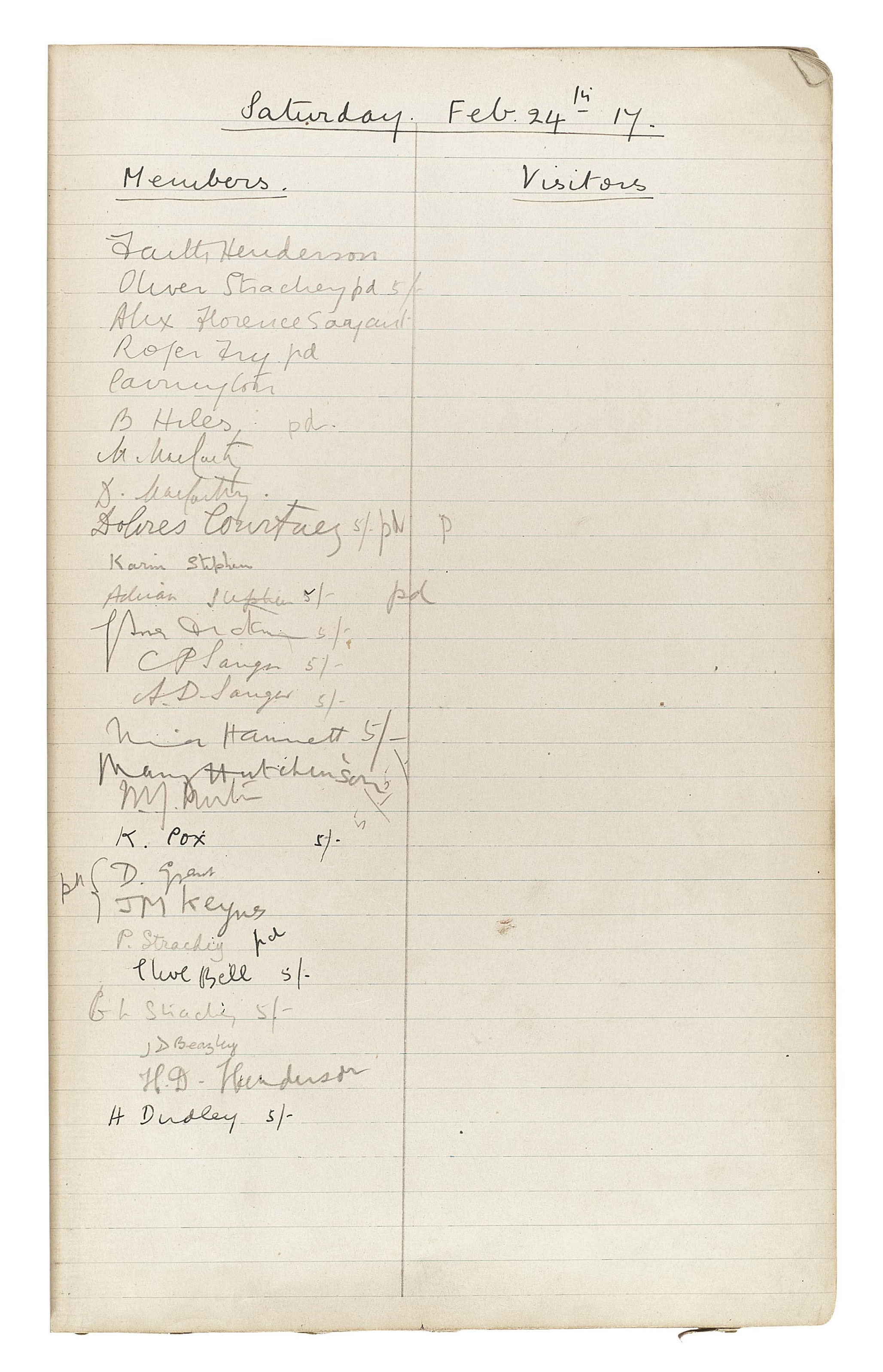 Bloomsbury Group The Attendance Book For The Omega Club
