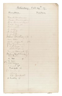 BLOOMSBURY GROUP. The 'Attendance Book' for the Omega Club, lists of 'Members' and 'Visitors' in separate columns for 18 meetings (alternating Saturdays and Thursdays) between 24 Febrary and 27 November 1917, the names of 181 members and 34 visitors recorded in a variety of hands, including signatures of Ka Cox, Duncan Grant, J.M. Keynes, Roger Fry, Dora Carrington, T.S. Eliot, Lytton Strachey, Clive Bell, Aldous Huxley, Arnold Bennett, Arthur Waley and others, other attendees including G.B. Shaw and W.B. Yeats, occasional records of payments of fees (usually a shilling), in a notebook reused by Arthur Waley for notes towards translations of Chinese or Japanese poems, some pages with typescripts or printed extracts pasted in, folio, boards (small portion cut from upper cover, worn).