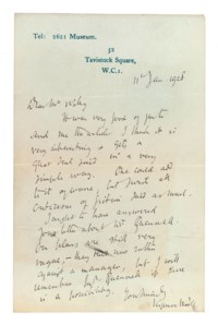 BLOOMSBURY GROUP. Collection of letters to Arthur Waley and Beryl de Zoete by members of the Bloomsbury Group and related figures, [1912]-1966 and n.d., the correspondents including Virginia Woolf (autograph letter signed to Waley, 11 January 1928, complimenting him on an article), E.M. Forster (two, n.d. and 1966, the first on his puzzlement at Krishna's 'blueness ... Is it just a divine colour, or is he a black people's god?', and a typescript speech), Lytton Strachey (2, on Chinese literature), Alix Strachey, Duncan Grant (1941, discussing a jacket design for Waley's translation of Monkey), Roger Fry (3, 'I wanted you with your knowledge of Chinese life in past ages to tell us really how the people in power regarded art', and one to Ka Cox, 1917, about a book of poems), Helen Anrep (12), Bertrand Russell (2, on Waley's translations, 'The human race appears to have made little progress since that period, and the advice to wise men, contained in it, has unfortunately not been adopted'), Gerald Brenan (27, 1925-1966, including a number of poems), Molly McCarthy (32), Francis Birrell (32, [1912]-1918 (most incompletely dated), a lively, gossipy series), 'Bunny' Garnett (4), John Lehmann (2) and Rosamond Lehmann, altogether approx 122 letters.