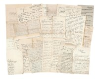 CARRINGTON, Dora (1892-1932). Series of 23 autograph letters signed to Arthur Waley, Tidmarsh and elsewhere, 1919 and n.d., Waley's name in the salutation often replaced by a sketch of a whale or variants, a number of doodles and sketches including drawings of Tidmarsh Mill, Soho Square and the cat Ptolemy, approximately 50 pages, 8vo.