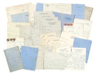 SITWELL, Edith (1887-1964). Series of approximately 99 autograph letters and cards signed to Arthur Waley and (the majority) Beryl de Zoete, Renishaw Hall, London (various addresses), Montagnana (Italy)  and elsewhere, 19 October 1925 - 20 November 1960 and n.d. (many 1941-46); with letters by Osbert Sitwell (11), Sacheverell Sitwell (6) and Georgia Sitwell (2); and eight autograph and typescript drafts of poems and essays by Edith Sitwell.