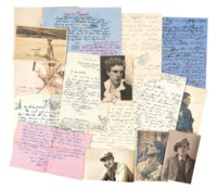 TENNANT, Stephen (1906-1987). Approx 56 autograph letters and four postcards signed to Arthur Waley and (the majority) Beryl de Zoete, mostly Wilsford Manor, also London, Gibraltar, Cyprus, Paris and elsewhere, 18 January [?1929] - 10 July 1951 and n.d., a few illustrated with drawings of flowers, the three postcards bearing portraits of Tennant, with three other portrait postcards unused.