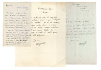 YEATS, William Butler (1865-1939). Two autograph letters signed and one letter signed to Arthur Waley, 18 Woburn Buildings, London, 82 Merrion Square, Dublin, and Colemans Hatch, Sussex, 14 April n.y., 21 November 1917 and n.d., 2¼ pages, 8vo and 4to, in autograph, and one page, 8vo, in a secretarial hand, unrelated annotations by Waley to versos.